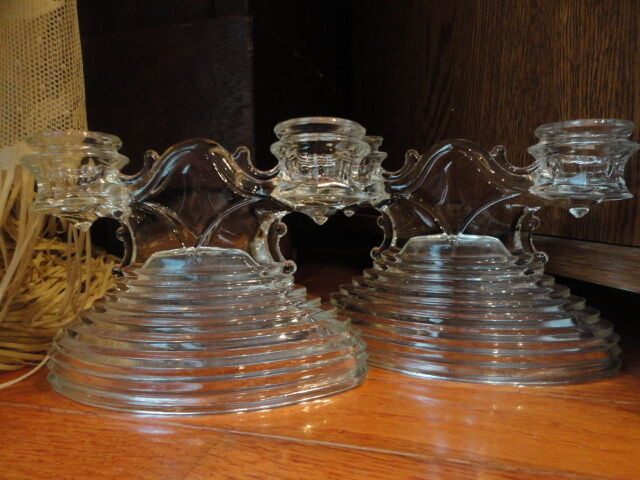 Manhattan Smith Mt Pleasant Glass Candle Stick Holders Double Pair Vintage