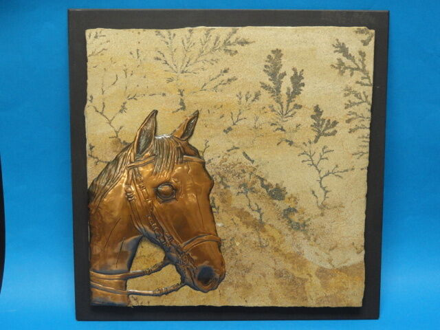 VINTAGE JOHANNES WILHELMUS VAN DARTELEN HORSE COPPER AND FOSSILIZED STONE ART