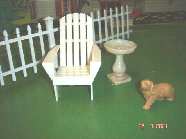 1950 s Ideal Dollhouse Lawn Garden Adirondack Chair Bird Bath - Acme Dog - $9.99