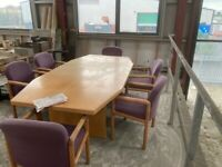 8ft office table with upholstered chairs
