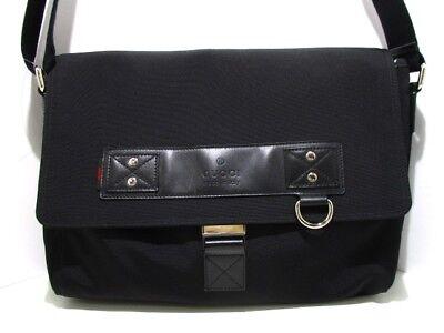 Auth GUCCI 246067 Black Canvas &  Leather Shoulder Bag