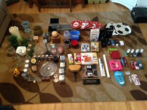 HUGE LOT OF HOUSEWARES Candles, Arbonne, Body Shop, Vase, Etc.