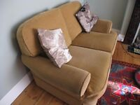 2 seater sofa, Marks and Spencer. Sandy colour pattern fabric.