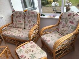5 piece Cane Matching Conservatory Furniture: sofa, 3 chairs, foot stool (worth £1500)