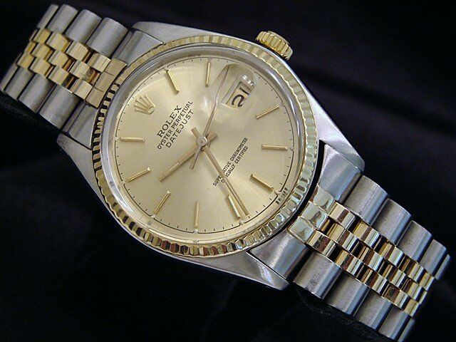 Rolex Datejust Mens 2tone Gold & Stainless Steel Watch Champagne Dial 16013