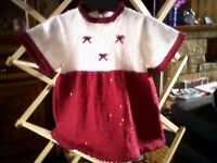 RUBY/WHITE SPARKLING SEQUINED HAND KNITTED DRESS & HEADBAND SET - NEW