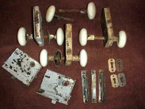 Antique 4 Lock Door Knob Set White Porcelain Box Locks mortise complete