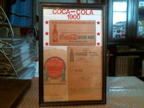 COCA-COLA EARLY 1900 ORIGINAL SHIPPING TAG, DRY SERVER, RECEIPT CUSTOM DISPLAY