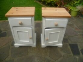 SOLID PINE Bedside Cabinets x 2 - up-cycled shabby chic style in Antique White