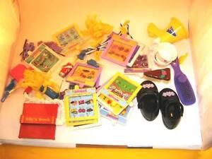 1999 INTERACTIVE ALLY DOLL SHOES, ACCESS. CARDS, TEA CUPS ETC