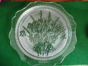 VERY LARGE DEPRESSION GLASS CAKE PLATE IN IRIS