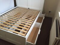 Ikea Double Bed with storage drawers and headboard Brimnes