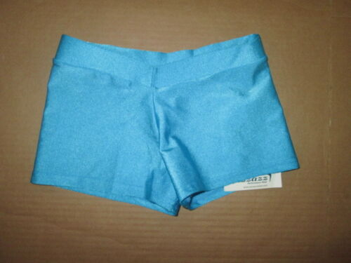 Girls PIZZAZZ fitted dance shorts sz L Lg youth NWT blue jazz tap gymnastics