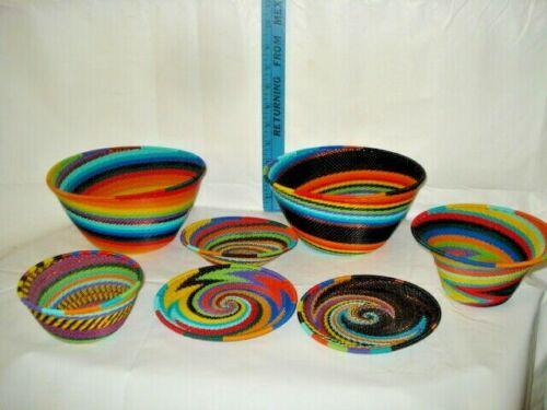 LOT 7 African Zulu Telephone Wire Bowls Baskets PLATES