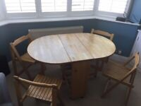 John Lewis folding table and 4 chairs