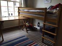 Aspace Oak single cabin bed with desk