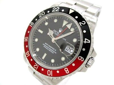 Auth ROLEX GMT Master2 16710 Black U752140 SS Men