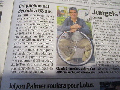 VELO : DECES DE CLAUDY CRIQUIELION 19/02/2015 L'ESSENTIEL