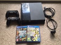PLAYSTATION 4 BLACK 500GB GOOD CONDITION WITH TWO DUAL SHOCK 4 CONTROLLERS AND 3 GAMES