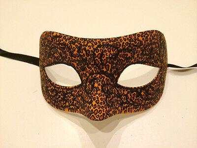 Orange Leopard Venetian Masquerade Costume Ball Prom Dance Party Wedding Mask (Leopard Masquerade Masks)
