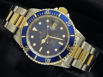 Mens Rolex Submariner 18k Yellow Gold Stainless Steel Watch Blue Sub Date 16803