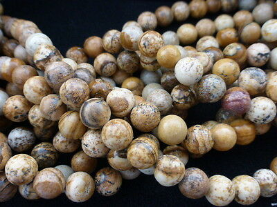 Natural Picture Jasper Round Beads 8mm  15.5 Inch Strand (Approx 46 Beads)  GB40