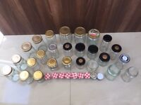 26 medium and large jam jars ranging in height from 10cm to 16cm. Collect Fulham