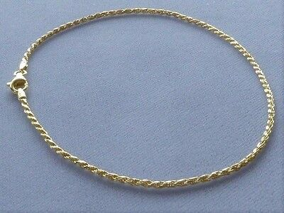 "NEW 10"" GOLD OVER ITALIAN STERLING SILVER ANKLE BRACELET- ROPE LINK- ITALY 925"