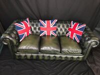 Buy A Traditional Handmade Chesterfield 3 Seater Balmoral Bottle Green Leather Sofa