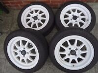 CAR WHEELS TYRES Rota G-T3s light weight performance sport alloys X4 white ,goodyear 195/50/15