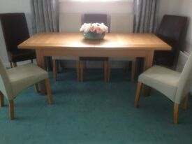 Solid Light Oak Dining Room Table, Closed 230cm, Extended 310cm, W91cm H78cm Good Condition