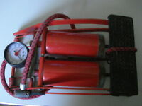 DOUBLE BARREL FOOT PUMP TYRE INFLATOR WITH HOSE