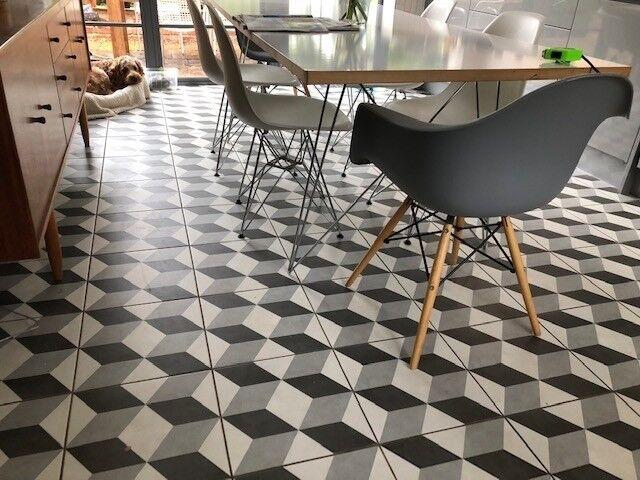 Grey And White Geometric Ceramic Floor Tiles New