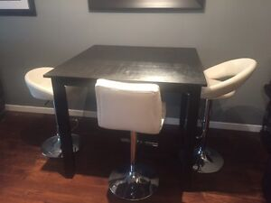 Bar height table & white leather stools
