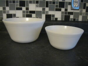 PAIR OF 1940 - 50's FEDERAL MILK GLASS MIXING BOWLS