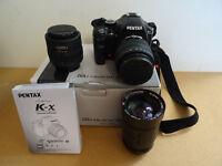 Pentax KX 10mp DSLR with 3 lenses - £155 o.v.n.o.