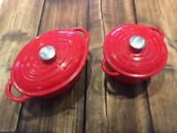 Two Cast Iron Linea casserole dishes - hardly used and very good condition