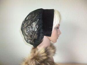 s3✽ Mittelalter Larp Kopfbedeckung   Schwarzer Samt und Spitzenstoff  Haube✽