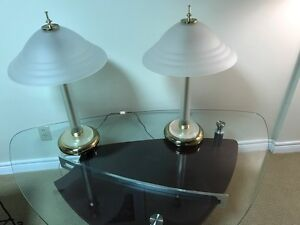Glass and brass table lamps with glass shades for $40.00 for 2