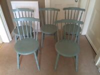 5 upcycled wooden chairs painted with Annie Sloan duck egg blue