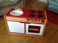 Wooden Play Kitchen - John Crane Pin Toys - with accessories