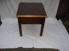 Small Brown Wooden Table with Separate Glass Top