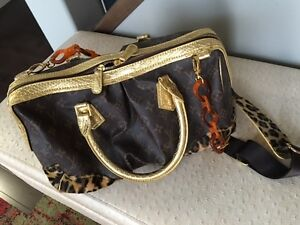 Purse / Bag brown with gold & leopard print trim