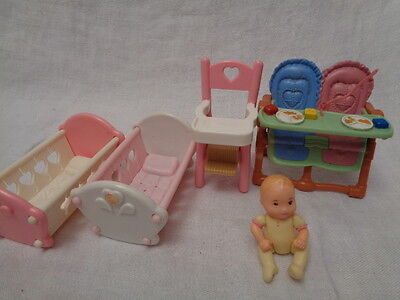 Fisher Price Loving Family twins highchair bed yellow baby furniture lot