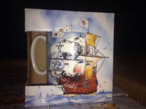 Bone China Ship Coffee Mugs