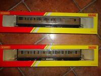 HORNBY RAILWAY CARRIAGES - LNER TEAK COMPOSITE/BRAKE COACH R4332 & R4333