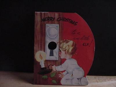 Vintage 1950s Christmas Card w/Toddler at Keyhole. Inside Turns Into SANTA Mask