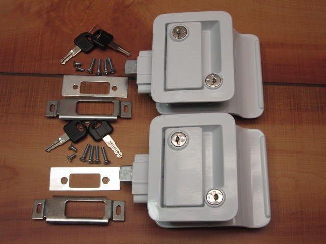 2 White RV Entry Door Lock Handle w / deadbolt Camper Trailer FIC Keyed A Like
