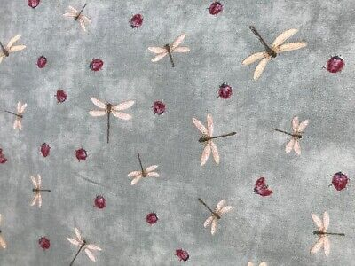 'Dragonflies' upholstery fabric remnant