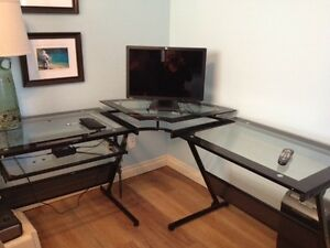 Three surface glass computer desk